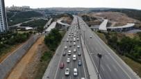 TEM'deki Trafik Yoğunluğu Havadan Görüntülendi