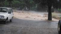 20 DAKİKA - Denizli'nin Acıpayam İlçesinde Yola Devrilen Ağaç Trafiği 20 Dakika Durdurdu
