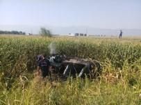 Manisa'da Takla Atan Araç Yandı Açıklaması 4 Yaralı
