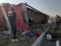 Aksaray'da Hayvan Yüklü Tır Devrildi Açıklaması 2 Yaralı