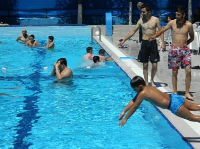 Sıcaktan Bunalan Havuzda Serinledi
