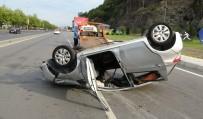 Otomobilin Takla Atıp 100 Metre Sürüklenmesi Kamerada