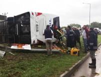KARABIGA - Yolcu otobüsü devrildi! Çok sayıda yaralı var