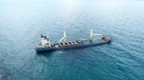 (Özel) Şile'de Karaya Oturan Geminin Son Hali Havadan Görüntülendi