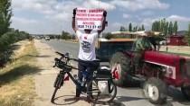 Bisikletiyle 'Adalet Ve Demokrasi Yolculuğu'na' Çıkan İşçi Uşak'ta