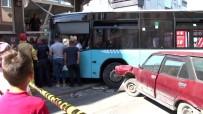 Gaziosmanpaşa'da Halk Otobüsü Apartmana Çarptı