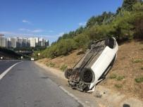 (Özel) Sultangazi'de Kendisini Sıkıştıran Taksiciden Kaçmak İsterken Takla Attı