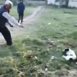Önce Köpeğe, Sonra Duruma Tepki Gösteren Gence Taş Attı