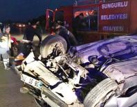Sungurlu'da Otomobil Devrildi Açıklaması 2 Yaralı