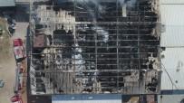 Bursa'da Fabrika Yangını Söndürüldü, Çalışmalar Havadan Böyle Görüntülendi