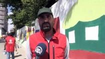 Gönüllü Gençler Kurumların Beton Bariyerlerini Boyadı