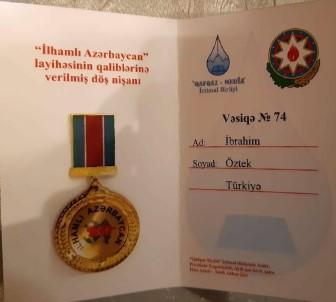 Prof. Dr. İbrahim Öztek, 'İhamlı Azerbaycan' Nişanı İle Ödüllendirildi