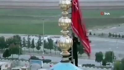 İran'da Süleymani'nin intikamı alınana kadar kırmızı bayrak göndere çekildi