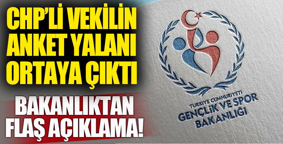 CHP'li Mustafa Adıgüzel'in anket yalanına Gençlik ve Spor Bakanlığı'ndan flaş yanıt!