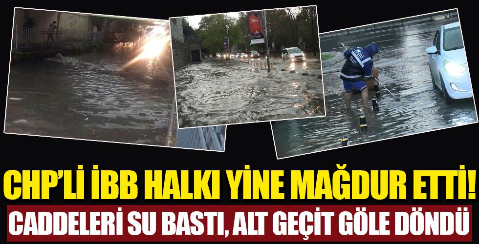 İstanbul'u yağmur vurdu! Caddeleri su bastı, alt geçit göle döndü!
