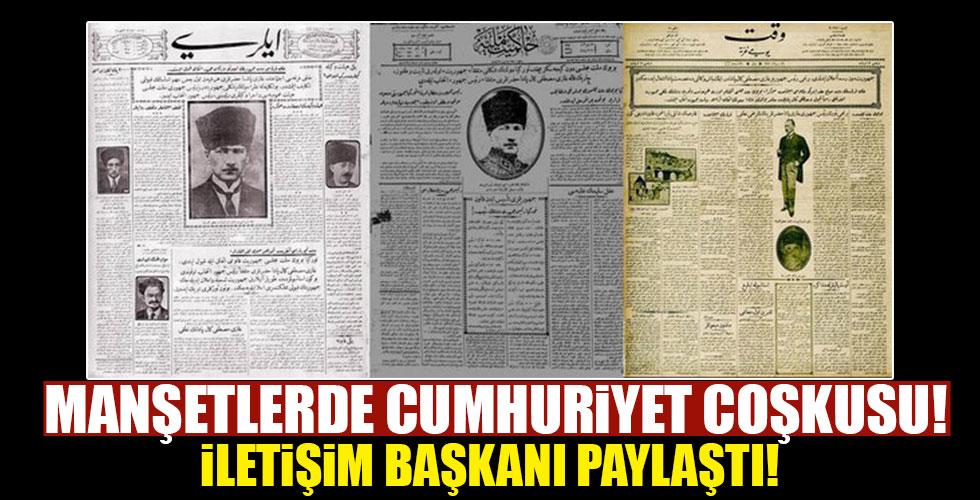 İlk manşetlerde Cumhuriyet coşkusu!