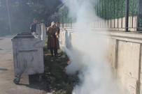 ÇÖP KONTEYNERİ - Yangın Tatbikatı Gerçek Oldu