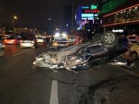 TURGUT ÖZAL - Kontrolden Çıkan Otomobil Direğe Çarpıp Takla Attı Açıklaması 1 Yaralı