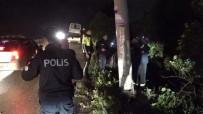 DİREKSİYON - Yoldan Çıkan Otomobil Elektrik Direğine Çarptı