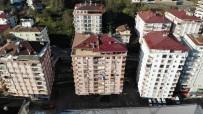 HASAR TESPİT - Rize'de Tahliye Edilen 10 Katlı Bina Havadan Görüntülendi