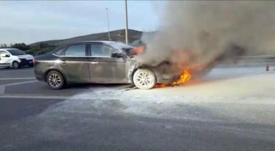 E-5' te otomobil alev alev yandı