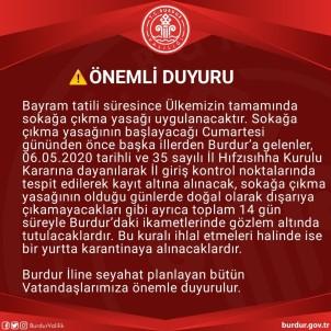 Burdur Valisi Açıklaması 'Bayram Öncesi Gelenler Karantinaya Alınacak'