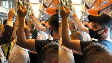 Metroda dikkat çeken kalabalık; adım atacak yer kalmadı