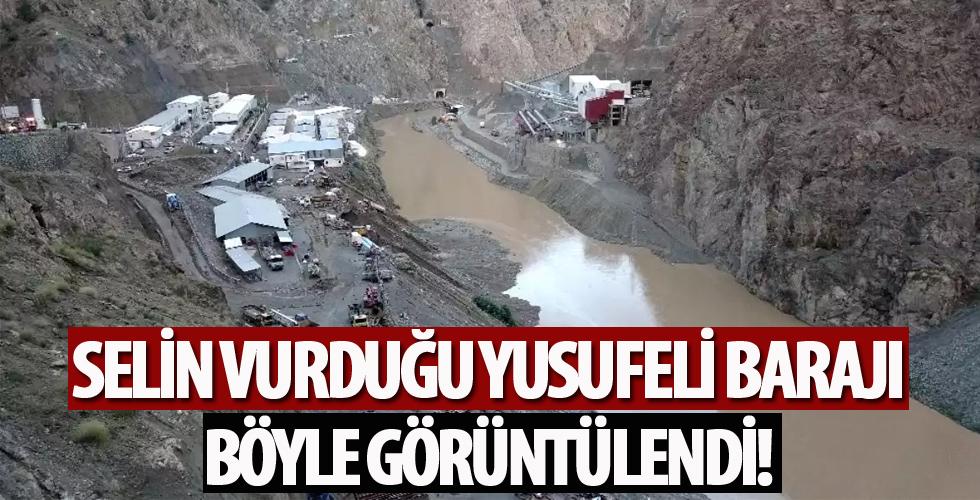 Yusufeli Barajı şantiyesinde sel ve heyelan böyle görüntülendi
