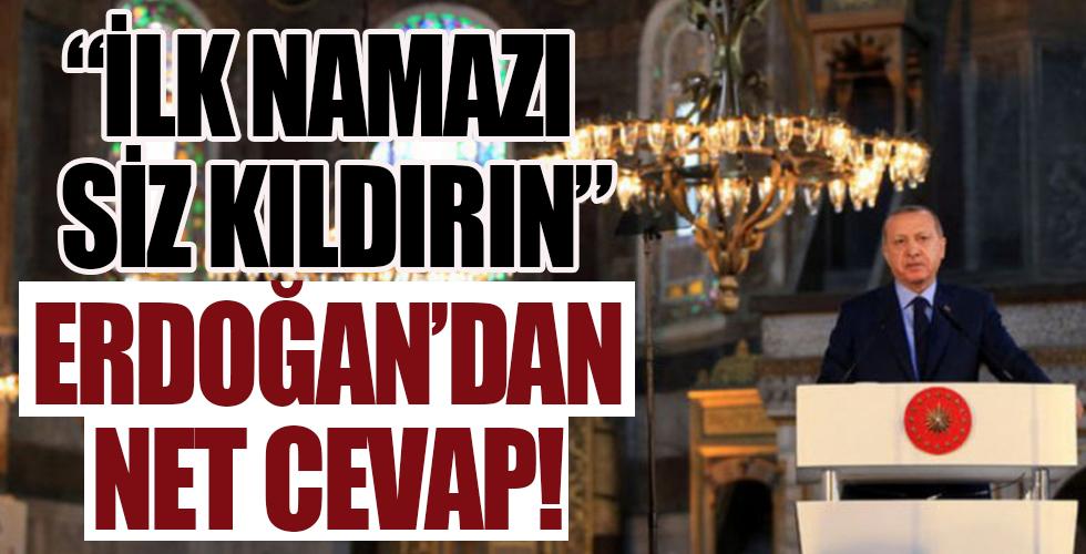 Cumhurbaşkanı Erdoğan'a Ayasofya'da ilk namaz sorusu
