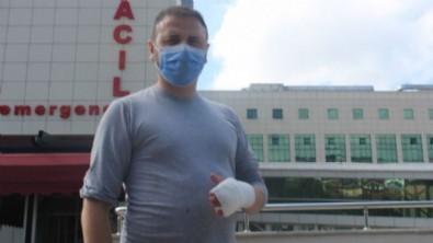 Arıya bıçakla müdahale etmek isteyen acemi kasap hastanelik oldu