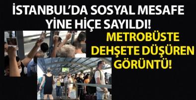 İstanbul'da yine koronavirüs hiçe sayıldı! Metrobüsteki görüntüler şaşkına çevirdi