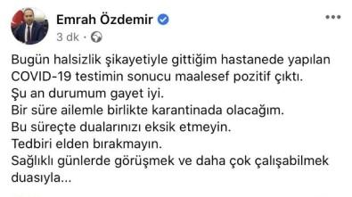 Niğde Belediye Başkanı Emrah Özdemir Korona Virüse Yakalandı