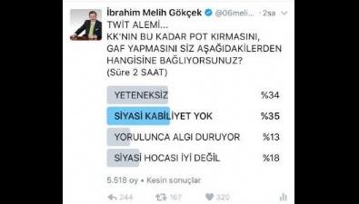Gökçek'ten Kılıçdaroğlu'nu Kızdıracak Anket