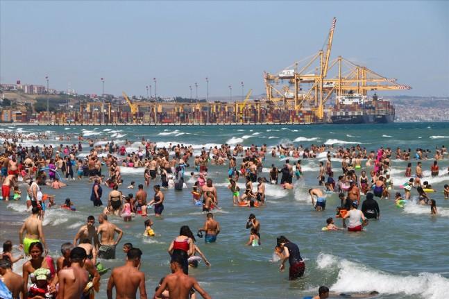 Tekirdağda Plajlarda Yoğunluk