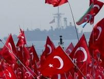 Savaş gemileri Yenikapı mitinginde güvenliği sağlıyor