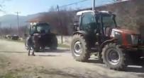 Kapışma İddiaya Dönüşünce, Köy Meydanında Traktörlerini Yarıştırdılar