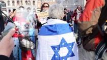 İSRAIL BAYRAĞı - Hollanda'da Filistin Gösterisinde İsrail Taraftarından Provokasyon