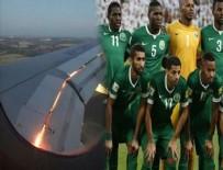 UÇAK MOTORU - S.Arabistan kafilesini taşıyan uçak alev aldı