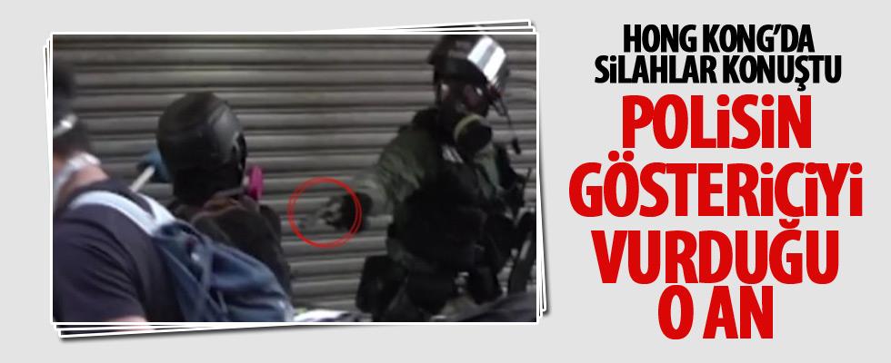Hong Kong'da polis göstericiye ateş etti