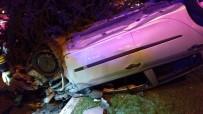SERVERGAZI - Takla Atan Otomobil Refüjdeki Ağaçlar Sayesinde Durabildi Açıklaması 2 Yaralı