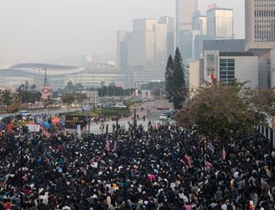 Hong Kong'da protestocular Uygur Türkleri'ne destek için toplandı