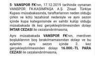 TEZAHÜRAT - PFDK'dan Van Spor FK'ye 16 Bin Lira Ceza