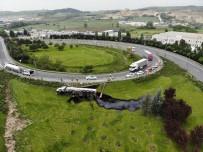 TEM'de Zift Yüklü Tanker Devrildi