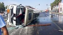 AHMET YILDIRIM - Mazot Tankeri Devrildi, 8 Ton Mazot Yola Döküldü