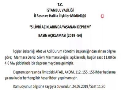 İstanbul Valiliğinden Deprem Açıklaması