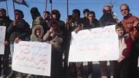 AZEZ - Azez'de Siviller Esad'ın Saldırılarını Protesto Etti