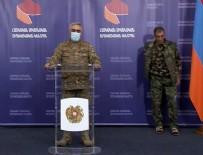 FUZULİ - Ermenistan Savunma Bakanlığı Sözcüsü, basın toplantısı yaparken arkasındaki terlikli umursamaz asker dikkat çekti