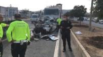 İki Tırın Arasında Sıkışan Otomobil Hurdaya Döndü