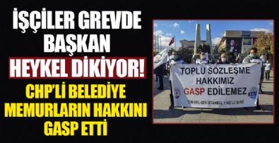 CHP'li Bakırköy Belediyesi'nde çalışan sendika üyelerinden toplu sözleşme protestosu
