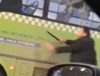 Trafikte kavga ettiği halk otobüsü şoförüne copla saldırdı